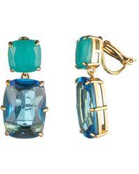 Carolee - Cushion Cut Double Drop Earrings - Lyst