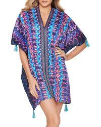 Miraclesuit Bella Albra Printed Caftan Cover - Up - Blue