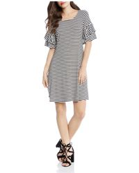 Karen Kane - Striped Ruffle-sleeve Dress - Lyst