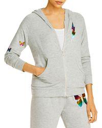 Aqua Lauren Moshi X Butterfly Foil Print Hoodie - Grey
