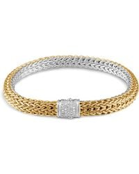 John Hardy - Classic Chain Sterling Silver And 18k Bonded Gold Medium Reversible Bracelet With Pavé Diamonds - Lyst