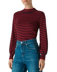 Whistles Stripe Blouson Sleeve Sweater - Red