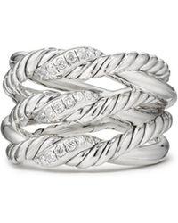 David Yurman - Continuance Three-row Ring With Diamonds - Lyst