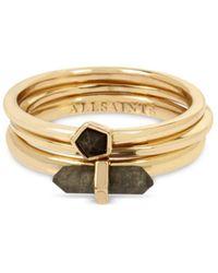 AllSaints Stone Delicate Stacking Rings - Metallic