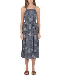 B Collection By Bobeau Printed Tiered Tank Midi Dress - Blue