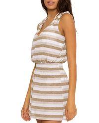 Becca Shimmer Stripe Dress Swim Cover - Up - White