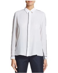 T Tahari - Tyra Piped Button-down Top - Lyst