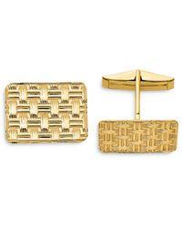 Bloomingdale's Basketweave Textured Cuff Links In 14k Yellow Gold - Metallic