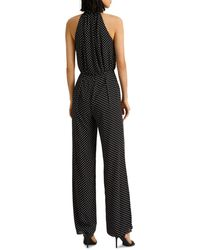 Ralph Lauren Lauren Polka Dot Halter Jumpsuit - Black