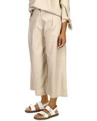 MICHAEL Michael Kors Cropped Wide Leg Trousers - Natural