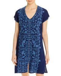 Johnny Was Harriet Embroidered Linen Dress - Blue