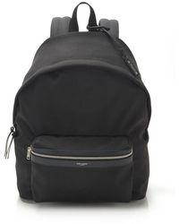 Saint Laurent City Canvas Backpack - Black