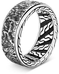 John Hardy Sterling Silver Classic Chain Reticulated Band - Metallic