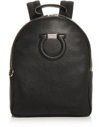 Ferragamo Gancini City Large Leather Backpack - Black