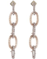 Alexis Bittar Crystal Encrusted Chain Drop Earrings - Metallic