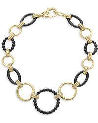 Lagos - 18k Gold Caviar Link Bracelet W/ Black Ceramic - Lyst