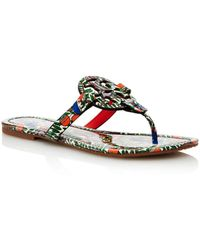f3a053cbb969 Tory Burch Flat Thong Sandals Penny Bow in Blue - Lyst