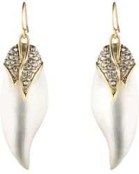 Alexis Bittar Crystal Encrusted Capped Feather Earring - Metallic