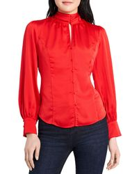 Vince Camuto Mock Neck Keyhole Top - Red