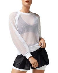BLANC NOIR Irie Sheer Cropped Sweatshirt - White