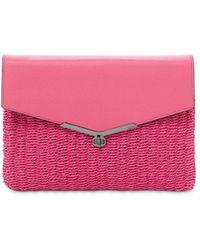 Botkier Valentina Straw & Leather Envelope Clutch - Pink