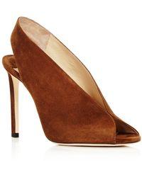 e689eb6b69d Jimmy Choo - Women s Shar 100 Suede Peep Toe High-heel Court Shoes - Lyst