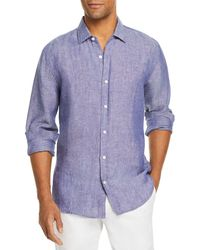 Bloomingdale's The Store At Bloomingdale's Linen Yarn - Dyed Solid Classic Fit Shirt - Blue