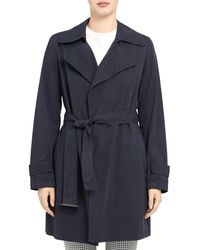Theory Oaklane Belted Short Trench Coat - Blue
