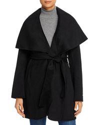 T Tahari Marla Belted Wrap Coat - Black