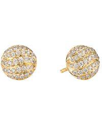 David Yurman - Mini Cable Stud Earrings In 18k Yellow Gold With Diamonds - Lyst