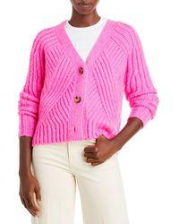 Aqua Mixed Rib Cropped Cardigan - Pink