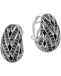 John Hardy - Sterling Silver Classic Chain Buddha Belly Earrings With Black Sapphire & Black Spinel - Lyst