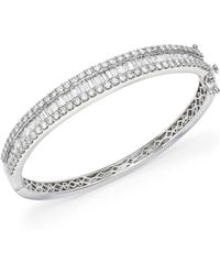 Bloomingdale's - Diamond Round And Baguette Bangle In 14k White Gold, 5.0 Ct. T.w. - Lyst