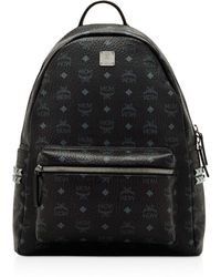 MCM Visetos Side Stud Medium Backpack - Black
