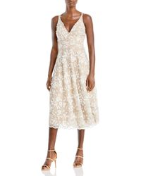 Dress the Population Elisa Embroidered Fit And Flare Dress - White