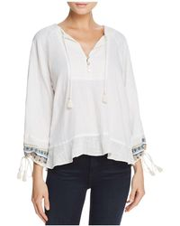Ella Moss - Embroidered Drawstring-cuff Top - Lyst