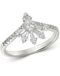 Bloomingdale's - Diamond Fancy - Cut Chevron Ring In 14k White Gold - Lyst