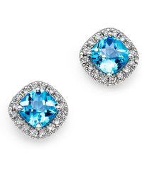 Bloomingdale's Blue Topaz Cushion Cut And Diamond Stud Earrings In 14k White Gold