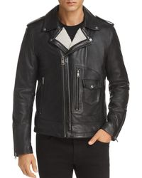 Karl Lagerfeld Faux Shearling-lined Leather Moto Jacket - Black