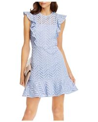 Aqua Lace Ruffled Dress - Blue