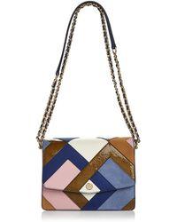 Tory Burch - Robinson Color-block Leather & Suede Pierced Shoulder Bag - Lyst