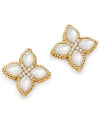 Roberto Coin 18k Yellow Gold Venetian Princess Mother - Of - Pearl & Diamond Earrings - Metallic