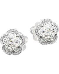 Pasquale Bruni 18k White Gold Ton Joli - Je T'aime Diamond Flower Stud Earrings
