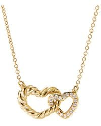David Yurman Cable Double Heart Pendant Necklace With 18k Yellow Gold With Pavé Diamonds - Metallic