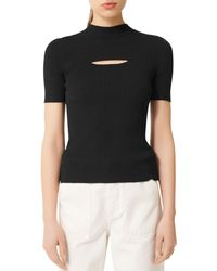 Maje Mouth Cut - Out Ribbed Jumper - Black