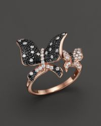 Bloomingdale's Black And White Diamond Butterfly Statement Ring In 14k Rose Gold