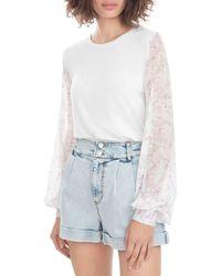 Generation Love Noelle Flower Sleeve Top - White