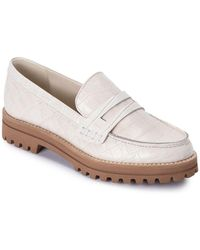 Dolce Vita Aubree Almond Toe Embossed Leather Loafers - White