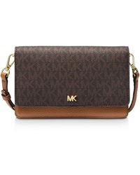 MICHAEL Michael Kors Michael Signature Leather Phone Small Crossbody - Brown
