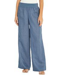 Three Dots Linen Wide Leg Trousers - Blue